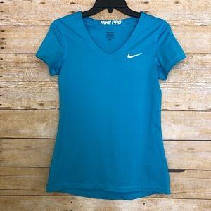 Nike Pro Blue Short Sleeve Dri Fit V-Neck Shirt